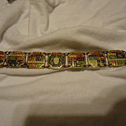 "SOLD Unique 1930s French Brass & Enamel Souvenir 7.5"" Bracelet"