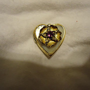SALE Wonderful Victorian Gold over Sterling Purple Flower Heart Shape Locket