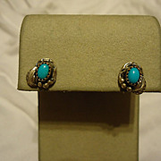 SALE Super Pair of Sterling Silver Navajo Turquoise Earrings