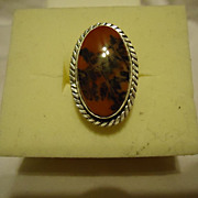 SALE Super Sterling Silver Petrified Wood Agate Size 6.5 Ring