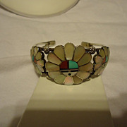 SALE Beautiful Sterling Silver Inlay Zuni Sun God Cuff Bracelet
