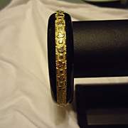 Super Signed Sandor Gold Filled & Black Enamel Bangle Bracelet