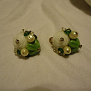 Super Pair of Vendome Crystal & Green Bead Earrings