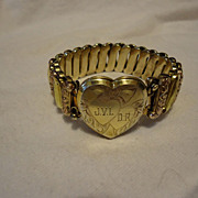 Super WWII Rose & Yellow Gold Filled Heart Locket Sweetheart Bracelet