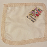 WWI Antique Cream Silk Hanky Souvenir De France