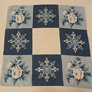 Vintage Silk Hanky in blue and white