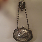 Antique Sterling Silver Purse with Chatelaine Engraved Scene