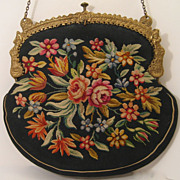 Antique Aubusson Purse France Floral with Lovely Ornate Frame
