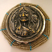 Antique Vintage Beaded Coin Purse Indian Head circa 1903 Tam o'Shanter Purse