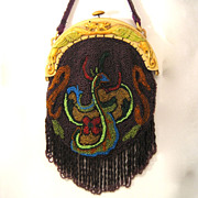 Vintage Beaded Purse Celluloid Phoenix Frame & Bag Handbag