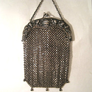 Antique Vintage Gorham Sterling Silver Mesh Purse Bag with Cherubs