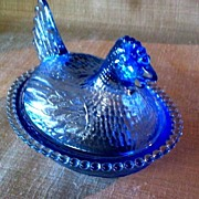 Blue Chicken in Basket Trinket Holder