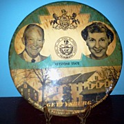 "6"" Political Button of President Eisenhower and Wife Gettysburg Pa."