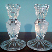 "Pair of Leaded  Cut  Crystal 5 ""  Candle Holders"