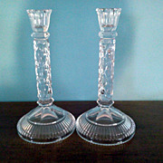 "Pair of  9 1/2"" Crystal Candle Holders"