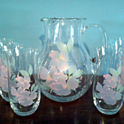 Set of 6 Glasses with Tea Pitcher  Hand painted with Pink flowers