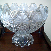Vintage Crystal Etched Footed Bowl