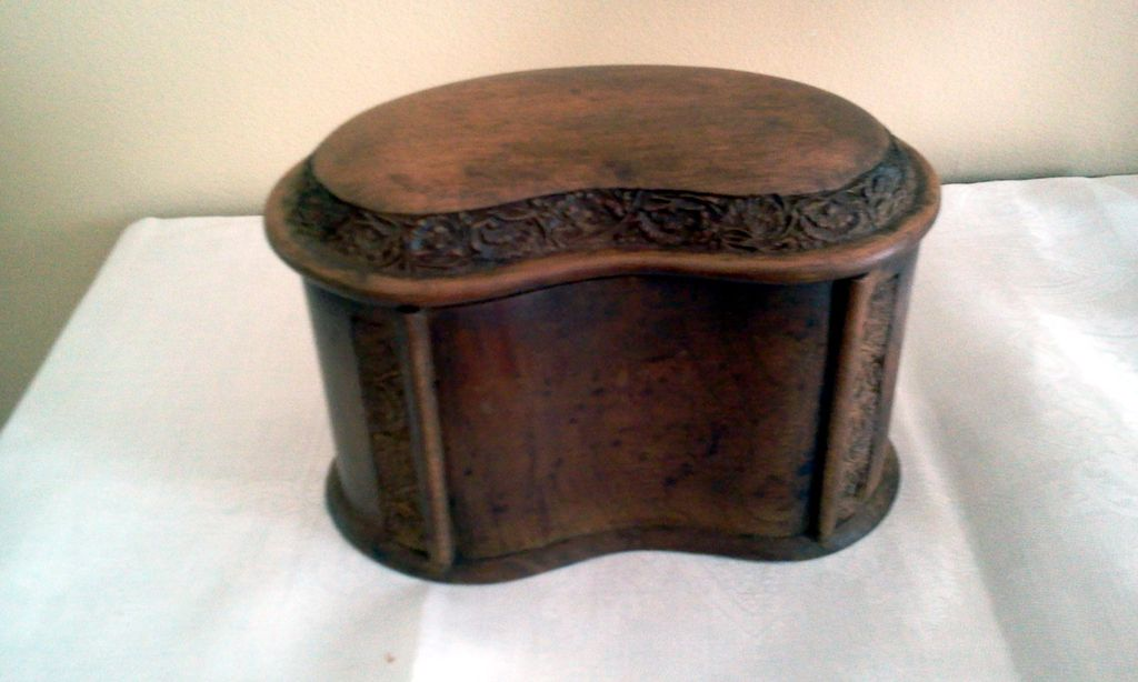 Kidney Shaped Solid  Walnut Humidor or Trinket Box