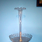 Tall Antique Crystal and Silver Plate Epergne