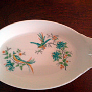 French Oval Dish with Bird of Paradise L' Hirondelle