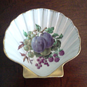 Limoges Shell Shape Dish Fruit Design