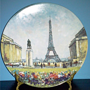 Porcelain Limoges Plate &quot;La Tour Eiffel&quot; 1982