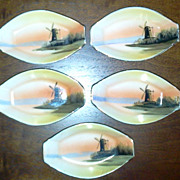 Noritake Butter Pats Or Nut Bowls Set of 5 Windmill Design