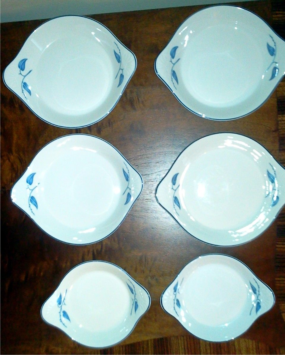 Set of Rosenthal Bowls Blue Leaf Pattern