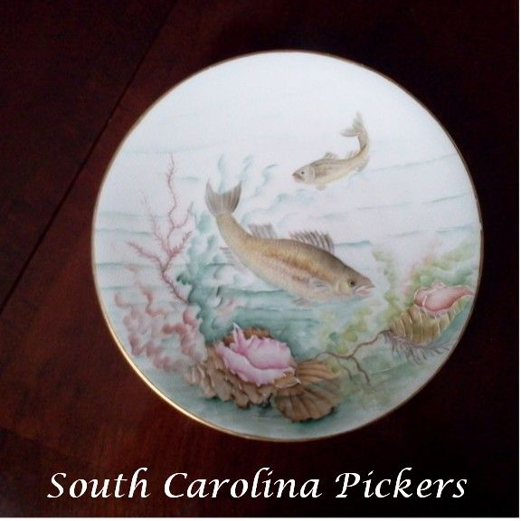 Antique Limoges Scenic Fish Plate Signed