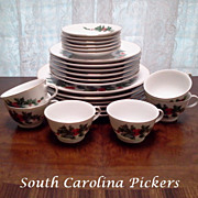 Lefton Christmas China Holly 6 Place Setting