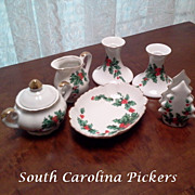 Lefton Christmas China Hostess Set 6 Pieces Holly