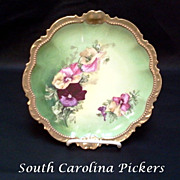 Classic French Limoges Pansy Charger Signed by Chopin