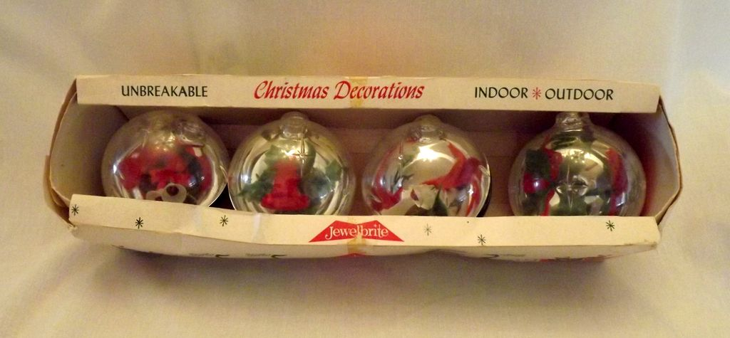 Vintage Christmas Ornaments Jewelbrite Christmas Balls (4) Orig box