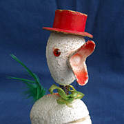 Vintage Paper Mache Easter Chick Bobble Head Sweet