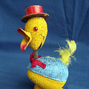 Vintage Easter Egg Chick Paper Mache Bobble Head