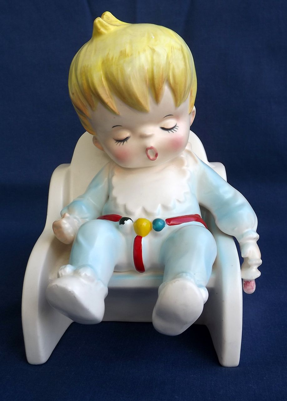 Vintage Lefton Planter Sleeping Baby Made in Japan