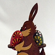 Vintage Wood Easter Rabbit w Hand-painted Eggs 1989 Different