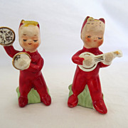 SOLD Vintage Napco Salt and Pepper Shakers Christmas Musical Sweet