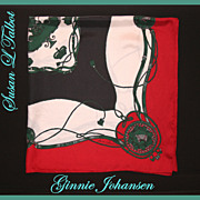 SALE Beautiful Vintage 1980's Ginnie Johansen Equestrian Themed Scarf