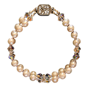 Handcrafted Two Strand Artisan Bracelet - Freshwater Pearl and AB Clear Swarovski Crystal