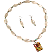 SALE Necklace & Earrings, White Optic Oval Beads, Swarovski Crystals, and Sterling Clasp