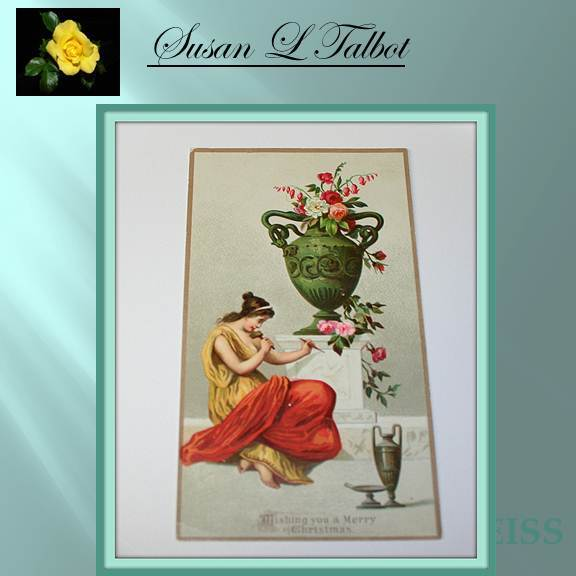 Vintage Christmas Card - Grecian Woman and Urn
