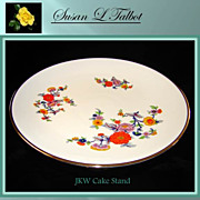 Floral Patterned Porcelain Cake Stand by JKW, Josef Kuba, Wiesau Bavaria