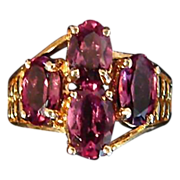 SALE 40% Off - 10K Yellow Gold Rhodolite Garnet Ring