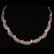 Vintage Avon Choker Style Silvertone Necklace with Gray Thermoset Beads