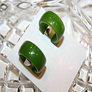 Vintage Bakelite Clip Earrings - Beautiful Shade of Green - Hoop Style