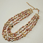 SALE 25% Off! Hattie Carnegie Four Strand Necklace, Metallic Coated Beads in Goldtone and Copp