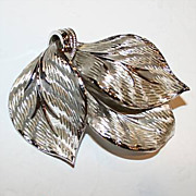 Lovely Vintage Corocraft Silvertone Triple Leaf Brooch