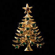Beautiful Eisenberg Ice Christmas Tree Brooch-Rhinestone Ornaments!