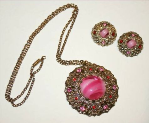 Vintage Demi-Parure, Necklace & Clip Earrings, Marked Germany